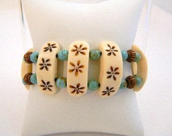 Bracelet, White and Copper Stretch Bracelet, Cross Bracelet, White Bracelet, Turquoise Bracelet