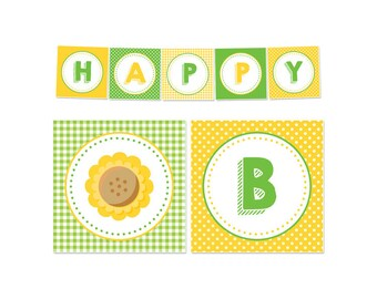 PRINTABLE Sunflower Party Banners