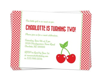 50% Off Sale! - PRINTABLE Cherry Party Invitation