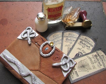 """Inspired by Sanderson sister's, Hocus Pocus Spell Book Replica, Box, Pocket size 4""""x 3"""" with potion labels"""