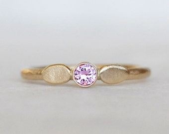 Pink Sapphire Petal Ring -  Gold Sapphire Ring - Choose 14k gold or 18k gold