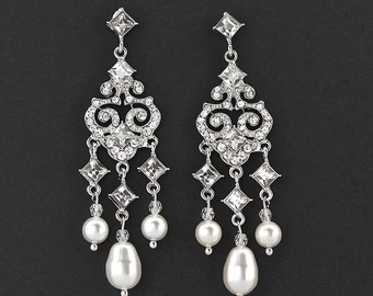 Chandelier Earrings, Silver Bridal Earrings, Pearl Chandelier Earrings, Bridal Jewelry, Wedding Jewelry, PRINCESS