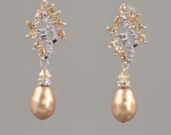 Champagne Bridal Earrings. CZ Leafy Wedding Earrings, Crystal Bridal Jewelry, Pearl Drop Earrings, SUMMER Champagne