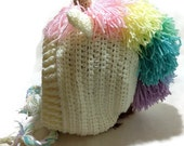 Pastel Rainbow Unicorn Hood Crochet Pixie Hat Unicorn Cosplay Hood Crochet Unicorn Hat Winter Animal Hood Kawaii Cosplay Hat