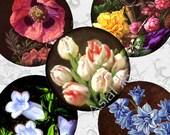 SALE Still Life Flowers, 1 Inch Digital Printable Circles for Scrapbooking, Journaling, Pendants, Bottlecaps, Magnets, Paper Crafts  CS 425