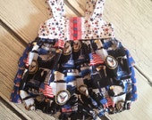 Girls Sunsuit Bubble Romper Support the Troops Military Collection Toddler Infant
