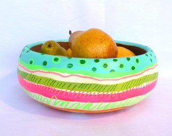 NEON BAHAMA BOWL/ Upcycled Hand Painted Vintage Teak Bowl