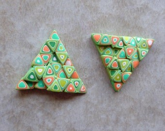 Retro Triangle Earrings Polymer Clay in Green, Orange and White