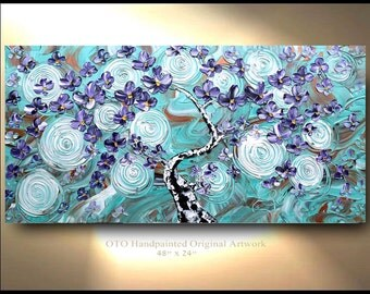 "Original aqua purple flower art 48"" gallery canvas Abstract painting,Original comtemporary Art,lots of texture Ready to hang artwork by OTO"