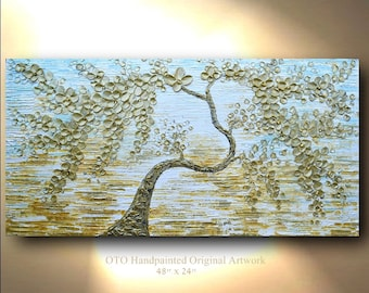 Original Canvas Art painting abstract canvas art gold blue 48x24 blooming tree art ocean house painting gallery quality oil painting custom
