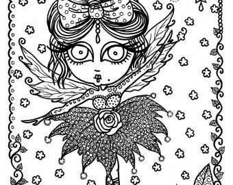 5 pages Downloadable 5 pack bundle Coloring Pages Funky Fairy Ballerinas Adult color pages Coloring Book You Be the Artist