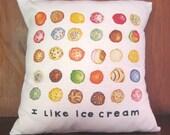 Ice Cream Throw Pillow Cover 14X14
