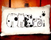 5 Cats Decorative Pillow, White,Natural Linen, Grey or Mustard