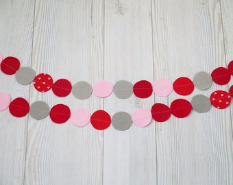 Garland - Party decorations, Red felt garland ,  birthday banner , felt circles garland ,  , birthday decor, Christmas decorations