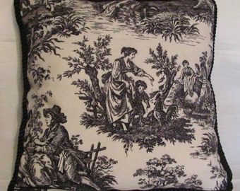 Country French English Cottage Toile Pillow Provence Ivory Black Buffalo Check