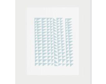 Geometric screenprint, abstract, original, handmade art in blue by Emma Lawrenson. Contemporary print