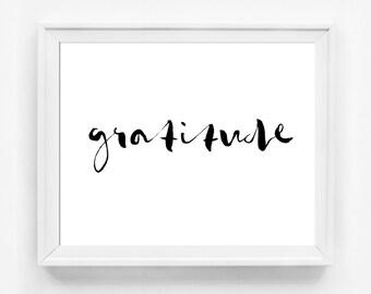 Gratitude Print, Fall Decor, Modern Kitchen Decor, Kitchen Art, Modern Thanksgiving Decor, Family Room Decor, Minimal Black and White Art