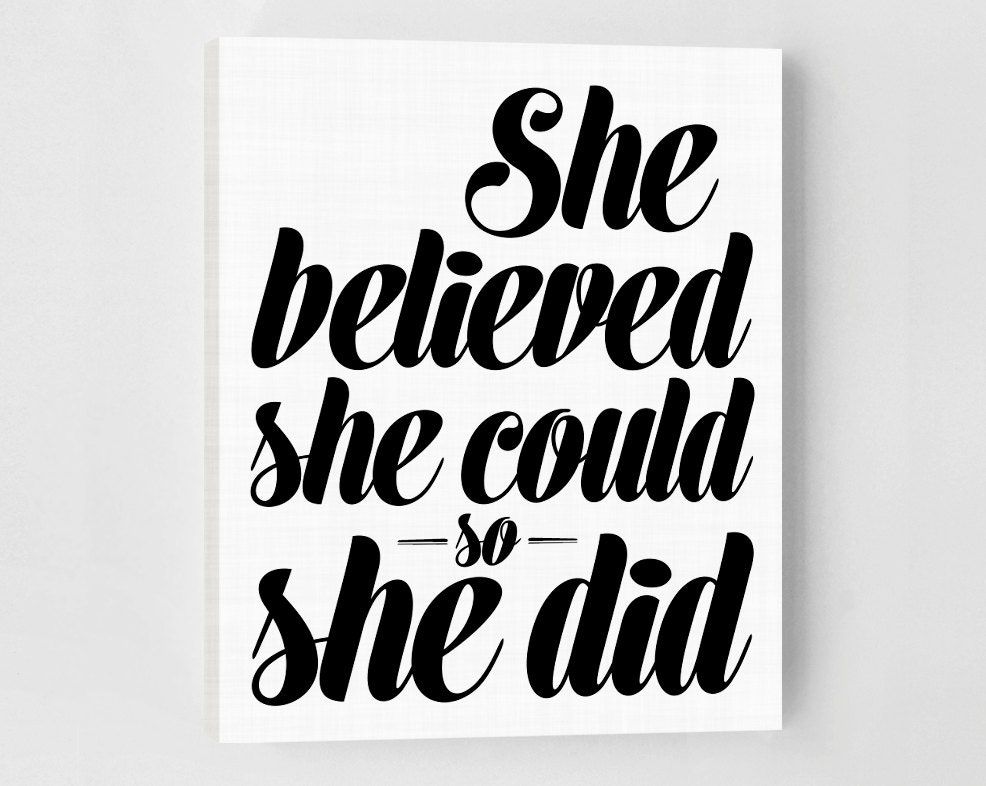 She Believed She Could So She Did Inspirational Quote Canvas