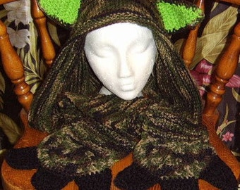 Beast Scood knitted scoodie, monster scoodie, camouflage, camouflage hooded scarf, camouflage scoodie, unique accessories, hooded scarf