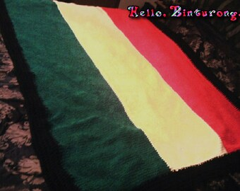 Rasta Throw Blanket, knitted blanket, Rastafarian, rasta blanket, rasta decor, home decor, interior decorating, red yellow and green, knit