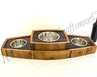 MADRA - Bowser - Oak Wine Barrel Stave Food and Water Elevated Bowl Stand