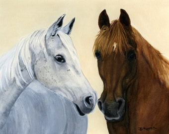 Custom Portrait of two Animals, Horses,  dogs, Cat etc. - Original watercolor Painting - 10 x 8 inches