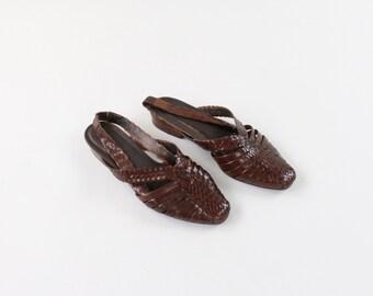 VINTAGE Dark Brown Leather Sandals Slingback Size 9