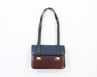 VINTAGE 1980s Colorblock Purse Navy Plum Leather Bag