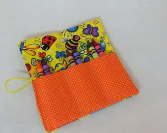 Boys and Grils Crayon Roll Ups  Party Favors Bug Fabric Roll Up 6 Crayons