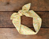 vintage inspired floral headscarf, pink orange green yellow, flowers, tie up headband, adjustable, spring summer, knotted headband