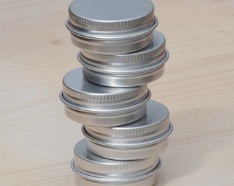 small metal tins, blank round silver color, 15ml screw lidded, one tin box