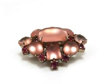 Vintage brooch - Pastel frosted & bright pink rhinestones