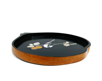 Carved Korean tray with abalone shell inlaid design