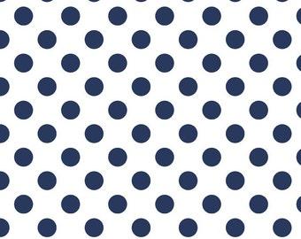 Riley Blake Fabric - 1 Yard of Medium Dots in Navy
