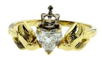 Crowned Heart With Swallows Diamond 18ct Yellow and White Gold Engagement Ring