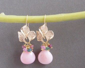 Pink Opal and Tourmaline Floral Earrings Pink Gemstone Earrings Feminine Floral Jewelry 14k Gold Filled Earrings
