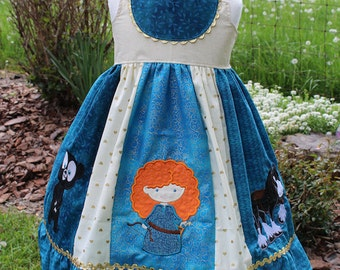 Brave inspired Dress, Merida, Angus and Bear Cub together in a themed Dress inspired by Disney's Brave, sizes 2T-8girls