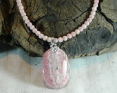 "Pink natural rhodochrosite pendant necklace 19"" long semiprecious stone jewelry packaged in a colorful gift bag 11371"