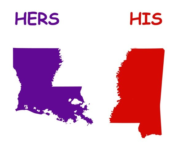 Special listing for Sharon - Maps of Mississippi and Louisiana with 'Hers' and 'His' words - Corn hole game
