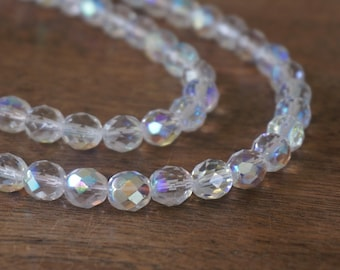 8mm clear Faceted Czech Glass Beads, 8mm Crystal with Aurora Boralis finish, Full & half strands available  (163F)