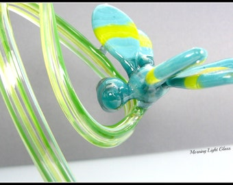 Spring Time Glass Dragonfly Art Sculpture Flameworked Winged Insect Nature Decor