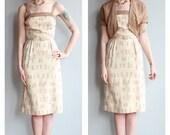 1950s Dress // Café Au Lait Dress & Jacket // vintage 50s dress