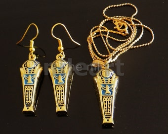 Amazing Egyptian Brass Enameled Mummy W/Isis Necklace And Earrings Set