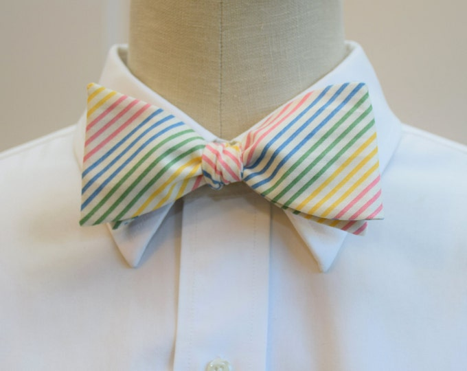Men's Bow Tie in pastel stripes, geometric bow tie, wedding party bow tie, groomsmen gift, groom bow tie, striped bow tie, dapper men gift