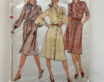80s Vogue 7924 Shirtdress Dress with Flared Skirt and Puff Sleeves, Gathered Shoulders - Size 8 Bust 31