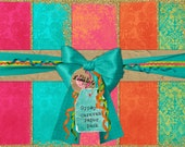 INSTANT DOWNLOAD Gypsy Caravan Digital 5 paper pack pink orange and turquoise gold glitter edged textured papers