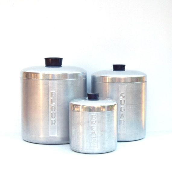 storage containers brushed aluminum set of 3 flour sugar. Black Bedroom Furniture Sets. Home Design Ideas