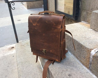 Laight backpack, handmade leather bag, brown leather rucksack, large leather backpack/travel bag, leather travel bags & backpacks by Aixa