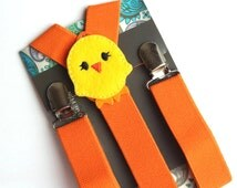 Kids Chick Suspenders, Easter Outfit, Orange Suspenders, Baby Suspenders, Toddler Suspenders, Childrens Photo Prop, Holiday,
