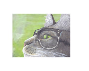 Cat Art Print- Gray Tabby in Vintage Glasses Mixed Media Artwork